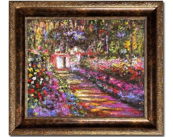 Garden Path at Giverny by Claude Monet 26''x30'', Hand-painted Oil Painting Replica with Versailles Gold Frame