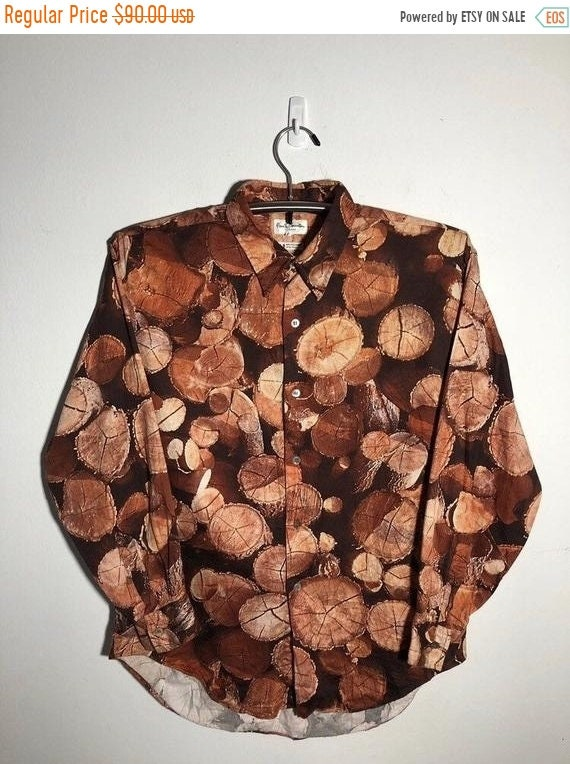 New Year Sale Paul Smith Art Shirt Wood All Over P