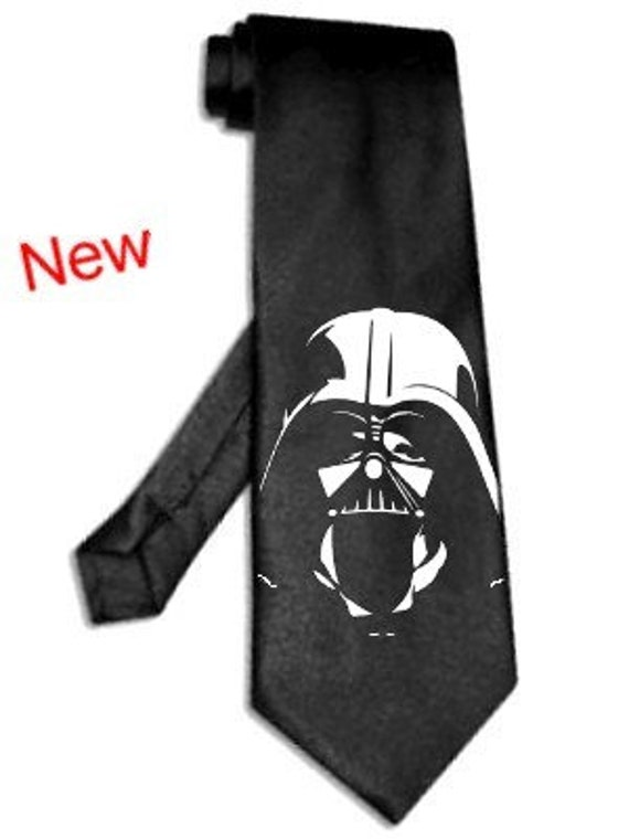 star wars darth vader helmet black tie hand-painted silk necktie may the force be with you