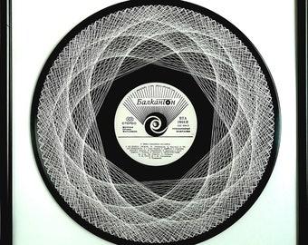 Gramophone plate, vinyl, vinyl record, gramophone record, vinyl plate, record, vinyl Disk, turntable, platter, Mandala, embroidery, unique