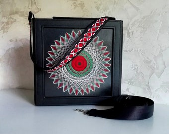 Shoulder bag, Square bag, Hand bag, Bulgaria, Mandala, unique, artwork in bag, 3D art, colorful, energy, design, handmade