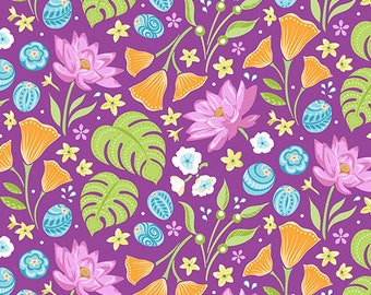 Crescendo - Floral Plum - by Amanda Murphy for Benartex fabrics, per half yard, 100% cotton