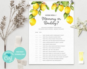 Guess Who Said It, Mommy or Daddy, Lemon Baby Shower Game, Instant Download, Printable Baby Shower Games, Gender Neutral Game, LM1 3614
