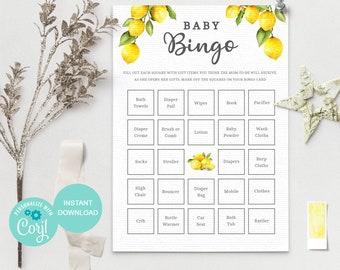 Lemon Baby Bingo Game, Baby Shower Game, Lemon Baby Shower Bingo, Gender Neutral, Editable Template, Printable Game, LM1 3614