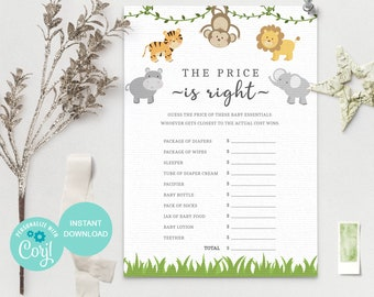 The Price is Right Baby Shower Game, Jungle Baby Shower Games Printable, Guess the Price, 100% Editable Template, JG 3615