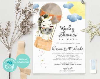 Horse Balloon Baby Shower by Mail Template - Baby shower by mail invitation - Baby Shower Mail - Editable Text, Instant Download - 3642 AB1