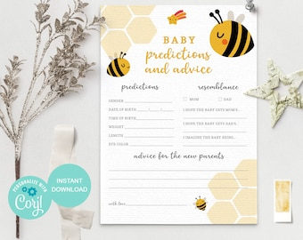 Baby Prediction Cards, Baby Prediction Game, Bee Baby Shower Games Printable, Bee Baby Predictions and Advice, BE2  3610