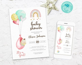 Baby shower invitation girl and balloon, Editable Girl balloon invite, Digital Balloon baby invite, Baby shower Pink balloon invite, BS3603