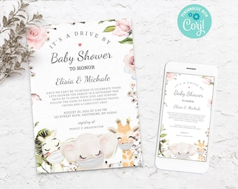 Drive By Baby Shower Invitation, Safari Cute Animals with Mask DIY Editable Template, Social Distancing Floral Party Invite, Boy Girl BS3601
