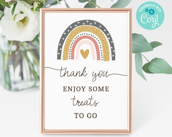 Baby Shower Treat Favors Sign Printable • Editable Sign • Drive by Baby Shower Treats Sign, Social Distancing Party • Instant, BS3603 3605