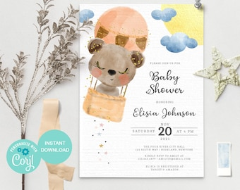 Bear baby shower invitation, Editable Baby bear invite template with balloon, Printale Bear baby shower invitation instant download, AB1
