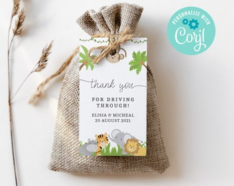 Jungle Drive By Baby Shower Editable Favor Gift Tag Template • Drive Through Party Tag • Quarantine Baby Shower,Instant Download 3620 JG