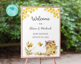 HONEY BEE Baby Shower Welcome Sign, Welcome sign, baby shower sign, honey Bee Baby Shower, Honey Bee Editable Sign, Printable sign 3621 BE1