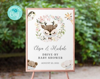 Drive By Baby Shower Welcome Sign Printable •  Deer Editable Sign • Quarantine Baby Animals • Social Distancing Party • Instant BS3601