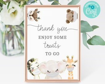 Baby Shower Treat Favors Sign Printable • Editable Treat favor Sign •  Quarantine Baby Animal • Social Distancing Party, BS3601 BS3601