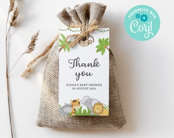 Baby Shower Editable Favor Gift Tag Template, Jungle Shower Party Tag, Jungle Baby Thank you tags, Instant Download 3631 JG
