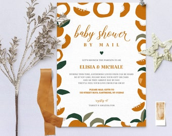 Baby Shower by Mail Template, Baby shower invitation, Social Distancing Baby Shower Invite, Editable Text, Instant Download, Corjl 3601