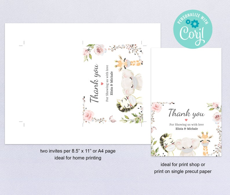 Drive By Baby Shower Editable Thank You Card Template \u2022 Printable Folded Thank You \u2022 Cards Quarantine Baby Animals \u2022 Instant Download BS3601