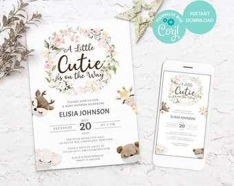Animal and flower Baby shower invitation, Cute Animals baby shower invitations for girl, Flower Baby girl shower invitation, 3606 BS3601