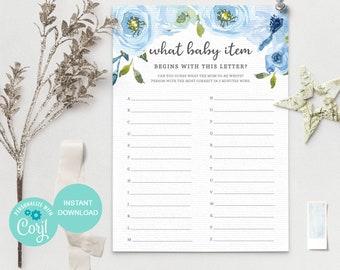 Alphabet Baby Shower Game, What Baby Item Begins With This Letter Game, 100% Editable Template, Instant Download, BF1 3613