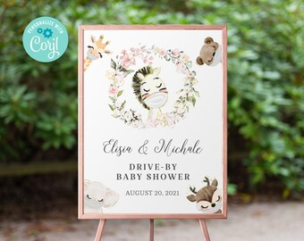 Drive By Baby Shower Welcome Sign Printable •  Horse Editable Sign • Quarantine Baby Animals • Social Distancing Party • Instant BS3601
