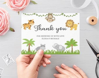 Jungle Baby Shower Editable Thank You Card Template • Printable Folded Thank You, Cards Quarantine Animals, Instant Download 3635 JG