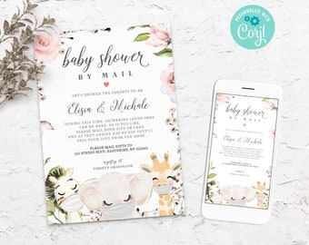 Baby Shower by Mail Invitation Template, Quarantine Animals, Social Distancing Shower Invite, Editable, Printable, Instant DownloadBS3601