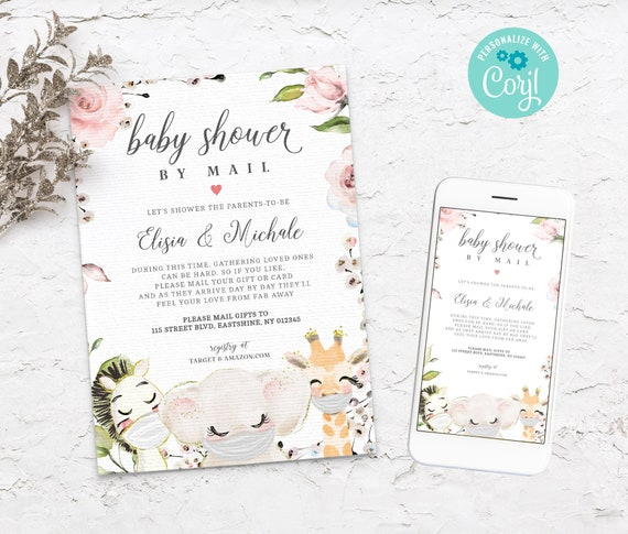 Boy Baby Shower by Mail Editable Invitation Social Distance Invite S151 Baby Farm Animals Covid Baby Shower Template Instant Download