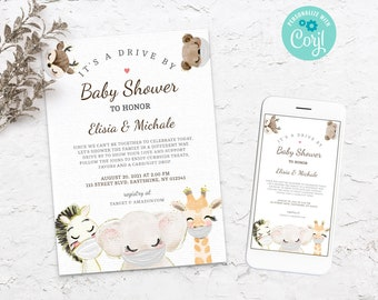 Drive By Baby Shower Invitation - Drive Through Baby Shower Invite - Quarantine Baby Animals - Social Distancing Editable  BS3601