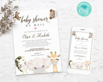 Baby Shower by Mail Template - Quarantine Animals - Animal baby shower Invite - Social Distancing - Editable Text - Instant - 3607 BS3601
