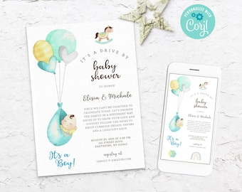 Drive by baby shower invitation boy with balloon, Drive Through Baby Shower Invite boy, Social Distancing Shower Instant Download, BS3603 10