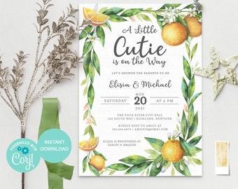 Orange baby shower invitation, Baby Shower Little cutie invitation, Editable Citrus baby shower invite, Instant Download, 3624 OG1