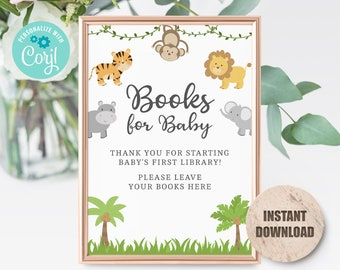 Jungle Baby shower Books for Baby Sign, Printable Jungle Baby Shower Book for Baby Sign, Editable, Instant Download 3632 JG