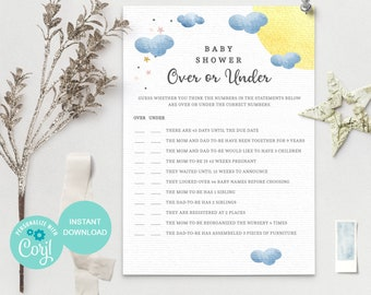 Over or Under, Baby Shower Game Printable, Baby Shower Instant Download, Gender Neutral Baby Shower Games, Cloud Baby Shower, AB1 3607