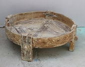 Indian Carved Chakki table, recycled Furniture, Coffee Table, Vintage Indian Grinder Table