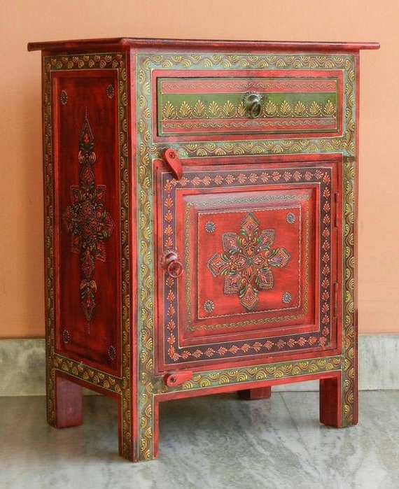 Indian Wooden Hand Painted Bedside, Hand Painted Cabinet Indian