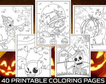 Halloween Activities for Kids, 40 Printable Coloring Pages for Kids, Boys, Girls, Teens. Halloween Party Activity, Kids Coloring Book, PDF