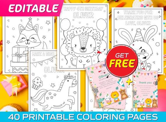 Editable Birthday Coloring Pages  40 Printable & Editable