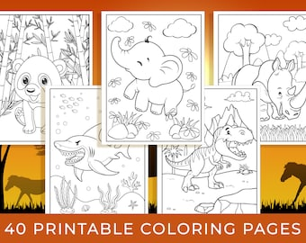 Animal Coloring Pages - 40 Printable Animal Coloring Pages for Boys, Girls, Teens, Kids, Animal Birthday Party Activity, Kids Birthday Party