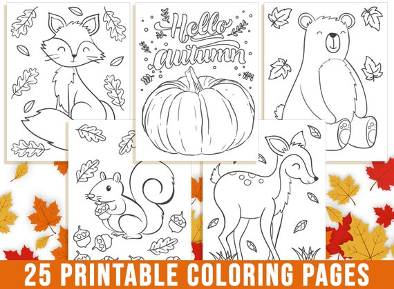 Fall Coloring Pages Autumn Coloring Book for Kids Fall Leaf