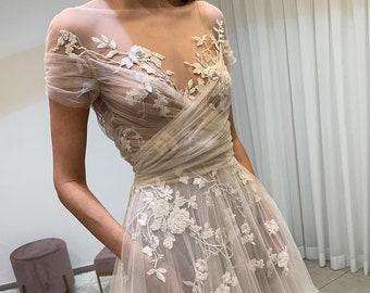 A Line Wedding dress V Neck 3d Floral Tulle Bride Party Bridal Gowns Romantic fairy boho custom modern lace appliques short sleeve beach