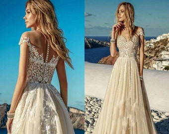 Champagne Bohemian Lace Wedding Dresses sweetheart Beach Boho Short Sleeve  Bridal Gowns Romantic Vintage Gypsy Hippie champagne