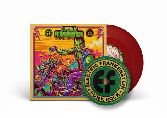 "Electric Frankenstein -  Can't Keep A Bad Man Down/Under My Wheels 7"" RED vinyl -with BONUS CD"