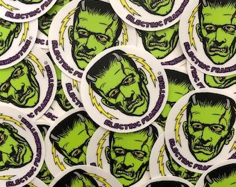 """ELECTRIC FRANKENSTEIN 3"""" Clear Round Vinyl Sticker"""