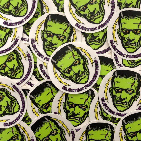 "ELECTRIC FRANKENSTEIN 3"" Clear Round Vinyl Sticker"