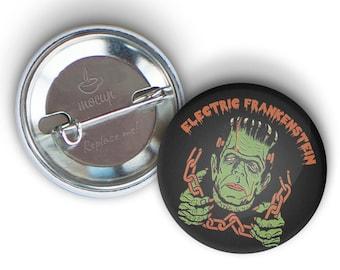 """ELECTRIC FRANKENSTEIN 1.25"""" Halloween Frank Button"""