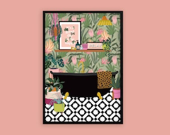 Tropical Botanical Bath House Plants Art Print   Unframed A6 A5 A4 A3 A2 A1   Hanging Macrame Eclectic Gallery Boho Tile Decor Bathroom