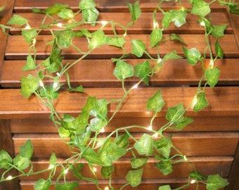 32ft Ivy string lights, leaf string lights, vine lights, Ivy hanging garland with string light
