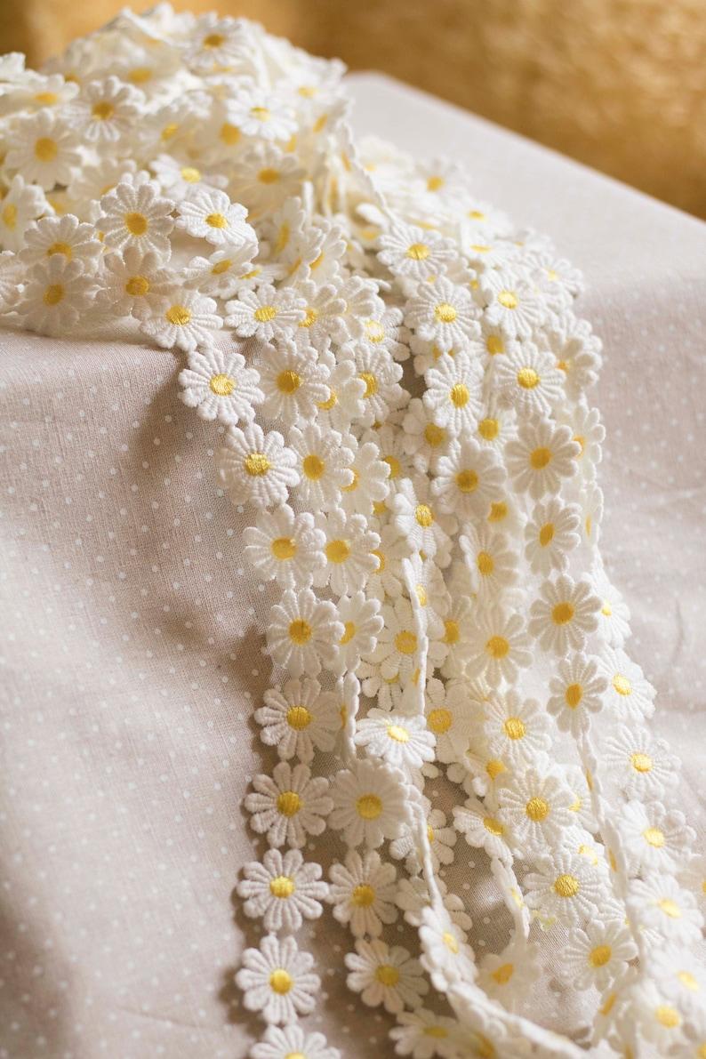 Daisy trim Sunflower trim Daisy ribbon Embroidered lace trim Flower lace trim