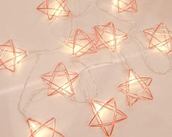 Big star string lights, rose gold star lights, fairy string lights, star hanging lights, string lights for home decor, decorative lights
